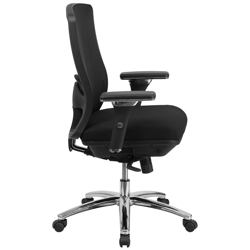 big tall 350 lb capacity black mesh multi functional swivel chair