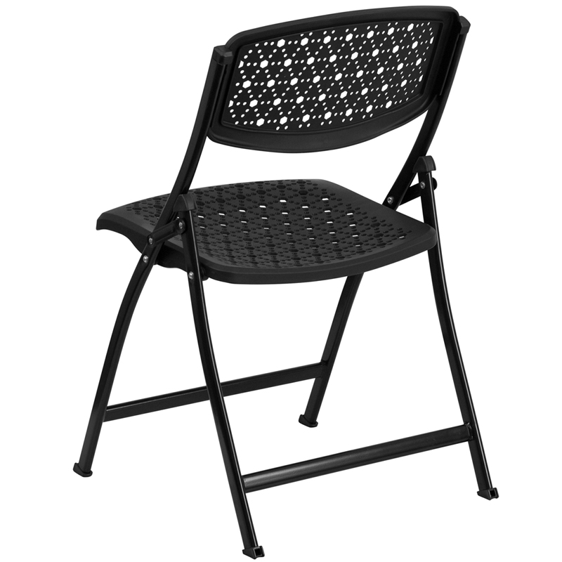 HERCULES Series Black Designer fort Molded Folding Chair [DAD YCD 59 BK GG]