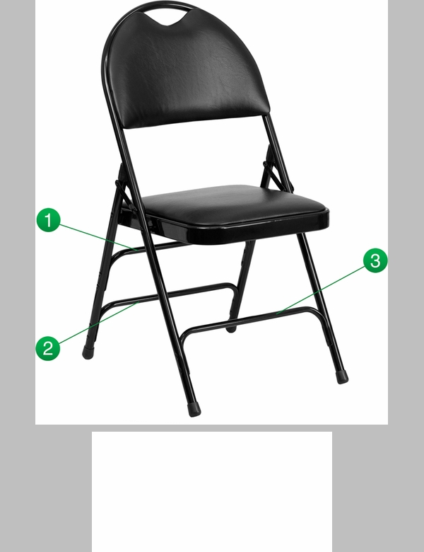 HERCULES Series Ultra Premium Triple Braced Black Vinyl Metal Folding Chair w