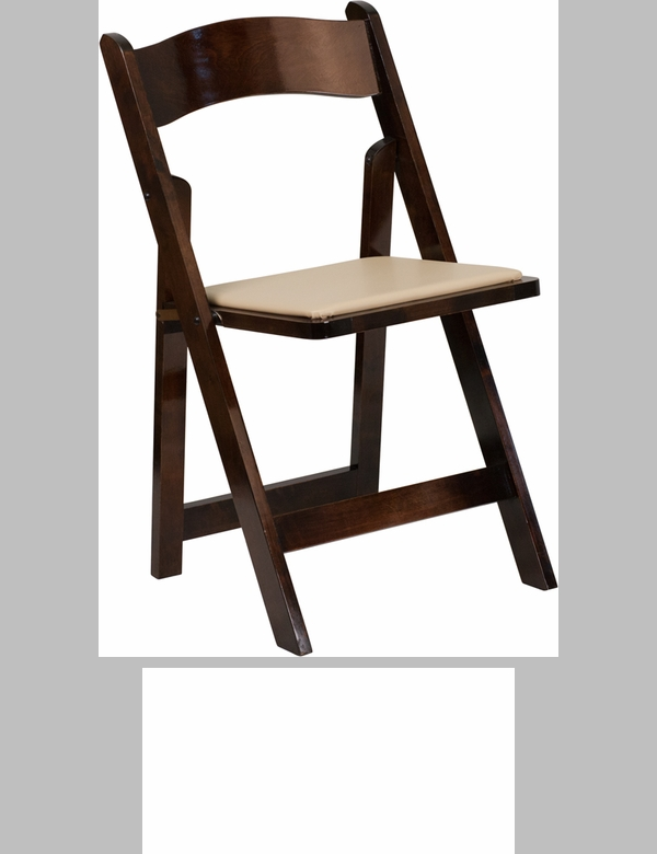 HERCULES Series Fruitwood Wood Folding Chair with Vinyl Padded Seat [XF 2903