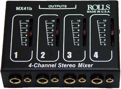 Four Input Microphone Mixer - Individual Volume Controls - 5''W x 3''D x 8''H [S1350-FS-AMP]