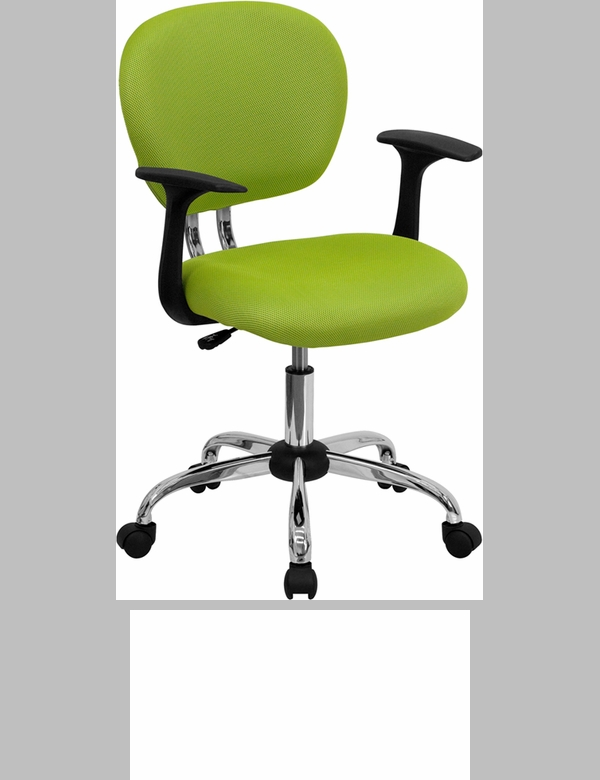 Mid Back Apple Green Mesh Swivel Task Chair With Chrome Base And Arms H 2376