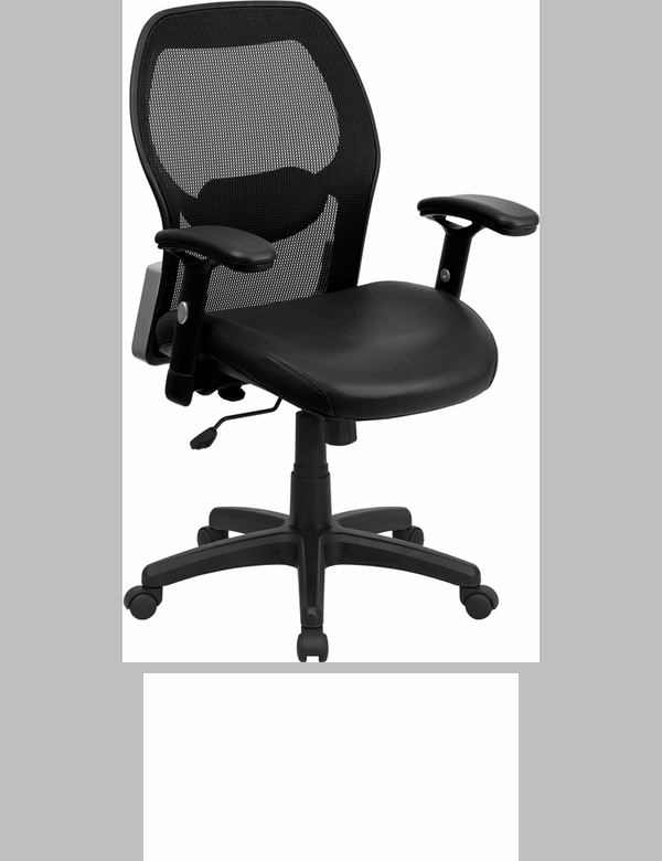 High Back Black Super Mesh Executive Swivel Office Chair With Leather Padded