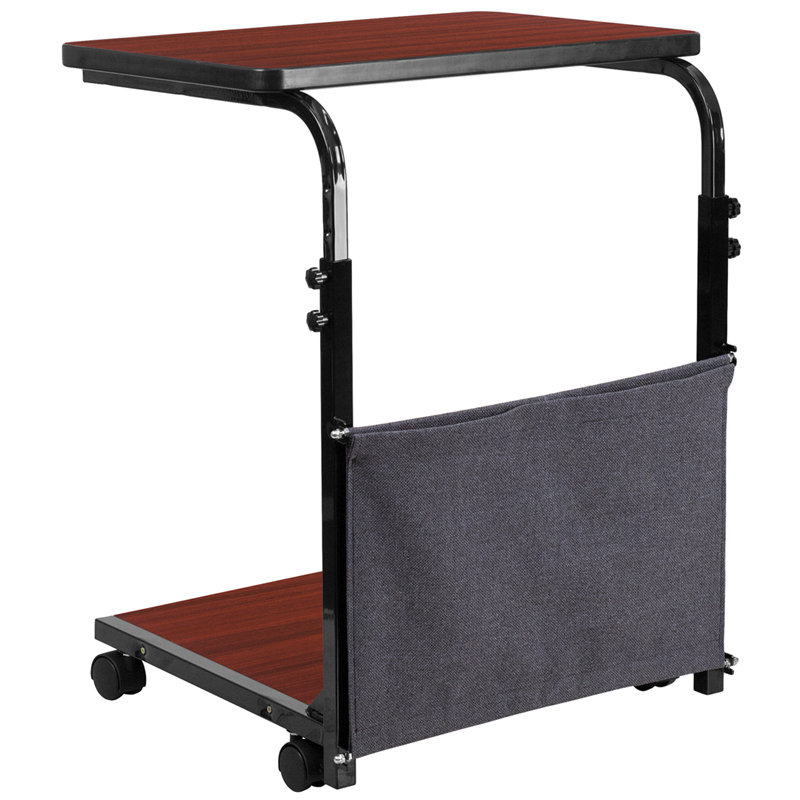 Mobile Sit Down Stand Up Mahogany Computer Desk With