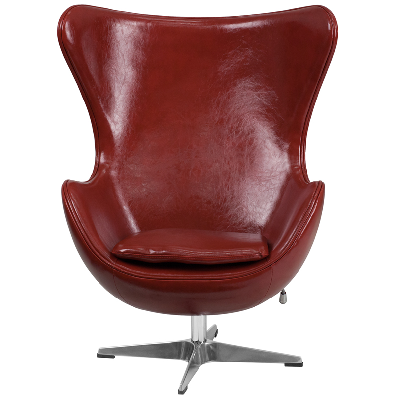 Cordovan Leather Egg Chair With Tilt Lock Mechanism ZB 15 GG