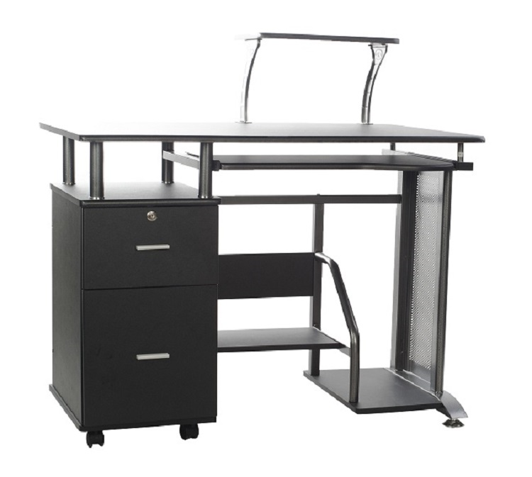 Rothmin Computer Desk With Storage Cabinet Black And
