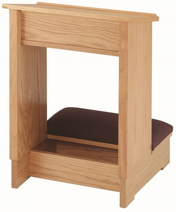 Stained Red Oak Single Prayer Desk with Upholstered Padded Kneeler [TPD-207S-TRN]