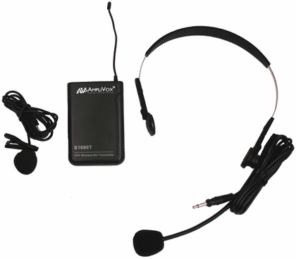 Wireless 16 Channel UHF Lapel and Headset Mic Replacement Kit - Black - 7''W x 3''D x 10''H [S1693-FS-AMP]
