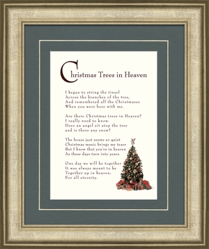 Christmas Trees In Heaven Christian Memorial Bereavement Poem Frame (8X10) Gift in Remembrance With words of Encouragement