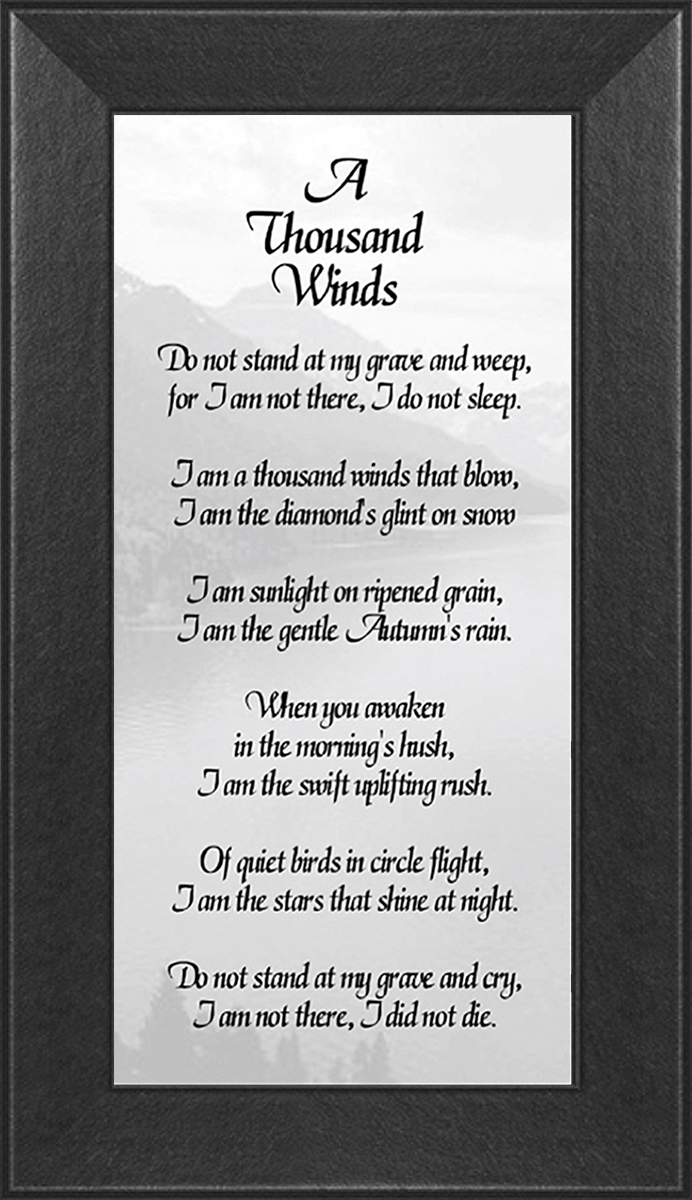 A Thousand Winds Sympathy Poem Framed Gift
