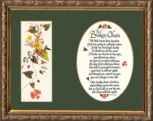 Broken Chain Poem Framed (7X9) Bereavement Gift showing Encouragement, Comfort, Condolence in Memorial and Sympathy.