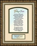 Broken Chain Poem Framed Bereavement Gift showing Encouragement, Comfort, Condolence in Memorial and Sympathy.