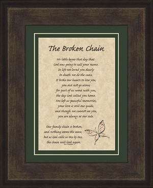 Broken Chain Poem Framed (6X8) Bereavement Gift showing Encouragement, Comfort, Condolence in Memorial and Sympathy.
