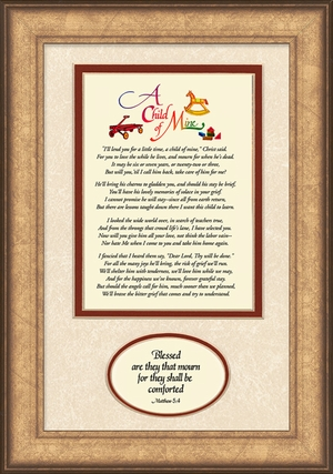 Child Memorial Sympathy Poem Frame (7X11) Gift Scripture Encouragement and Comfort in the Time of Bereavement.