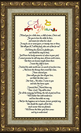 Child Memorial Words Framed (3.5X7) Gift for Condolence, Encouragement and Comfort in the Time of Bereavement.