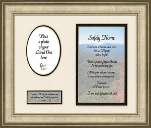 Safely Home Sympathy Poem Photo Frame (8X10) Scripture Gift for Memorial, Encouragement and Comfort in the Time of Bereavement