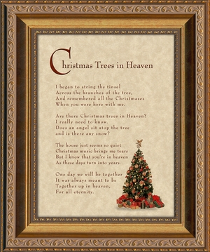 Christmas Trees In Heaven Christian Memorial Bereavement Poem Frame (6X8) Gift in Remembrance With words of Encouragement