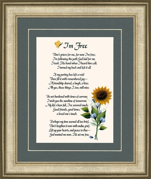 I'm Free Condolence Poem Frame (8X10) Gift for Memorial, Sympathy, Encouragement and Comfort in the Time of Bereavement
