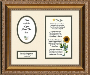 I'm Free Condolence Poem Photo Frame (8X10) Gift Scripture for Memorial, Sympathy, Encouragement and Comfort in the Time of Bereavement
