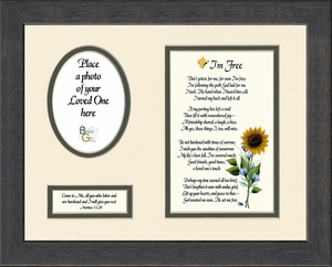 I'm Free Condolence Poem Photo Frame (8X10) Scripture Gift for Memorial, Sympathy, Encouragement and Comfort in the Time of Bereavement