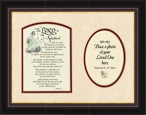 Psalm 23 Renown Scripture Verse Photo Frame (9X12) of the Good Shepherd with words of Encouragement, Comfort, Support and Hope.