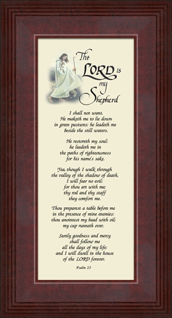 Psalm 23 Renown Scripture Verse Frame (4X10) of the Good Shepherd with words of Encouragement, Comfort, Support and Hope.