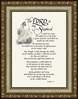 Psalm 23 Renown Scripture Verse Frame (5X7) of the Good Shepherd with words of Encouragement, Comfort, Support and Hope.
