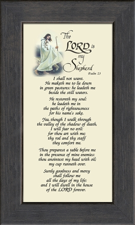 Psalm 23 Renown Scripture Verse Frame (3.5X7) of the Good Shepherd with words of Encouragement, Comfort, Support and Hope.