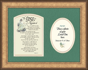 Psalm 23 Renown Scripture Verse Photo Frame (9X12)of the Good Shepherd with words of Encouragement, Comfort, Support and Hope.