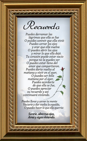 Spanish, Español, Female Remembrance Poem, Sympathy Framed Gift for Memorial, Encouragement and Comfort in Time of Bereavement, Christian, Catholic