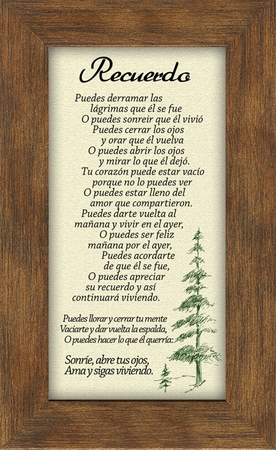 "Recuerdo, Remembrance Male Framed Gift 3.5"" X 7"""