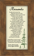 """Recuerdo, Remembrance Male Framed Gift 3.5"""" X 7"""""""