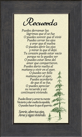 Spanish, Español, Male Remembrance Poem Sympathy, Framed Gift for Memorial, Encouragement and Comfort in Time of Bereavement, Christian, Catholic