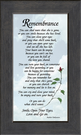 Remembrance Poem for Female Sympathy Frame (3.5X7) Gift for Memorial, Encouragement and Comfort in the Time of Bereavement