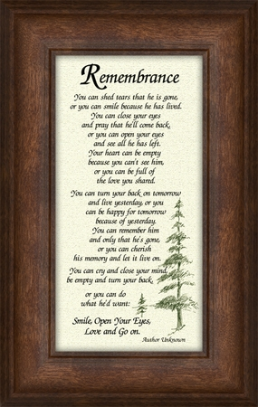 Remembrance Poem for Male Sympathy Frame (3.5X7) Gift for Memorial, Encouragement and Comfort in the Time of Bereavement