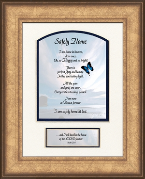 Safely Home Sympathy Poem Frame (6X8) Scripture Gift for Memorial, Encouragement and Comfort in the Time of Bereavement