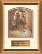 "Sallman Classic Christian Art Head of Christ Print Frame (6X8) Matthew 5, 4 ""Blessed are they . . ."""