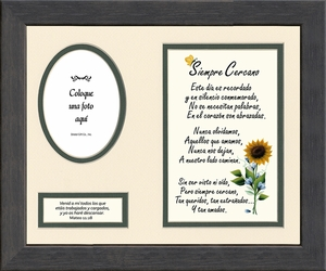Spanish, Español, Always Near Sympathy Poem Photo Frame, Siempre Cercano Poema de Simpatía, Framed Gift for Memorial, Encouragement,Comfort and Bereavement