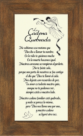 "Spanish-Español- Broken Chain Male Poem- Poema La Cadena Quebrada- Sympathy- Poem- Gift of  Memorial and Bereavement""spanish-espa-ol-broken-chain-poem-poema-la-cadena-quebrada-male-sympathy-3-5x7""."