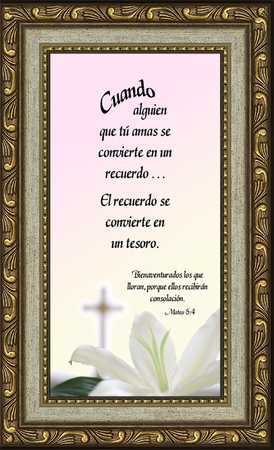 Spanish, Español, Female Sympathy Poem, Memory, Treasured Memorial Framed Gift, Encouragement, Comfort, Time of Bereavement, Christian, Catholic