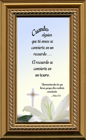 Spanish, Español, Male Sympathy Poem, Memory, Treasured Memorial Framed Gift, Encouragement, Comfort, Time of Bereavement, Christian, Catholic