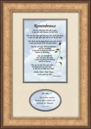 Remembrance Poem for Female Sympathy Frame (7X11) Scripture Gift for Memorial, Encouragement and Comfort in the Time of Bereavement
