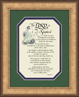 Psalm 23 Renown Scripture Verse (8X10) of the Good Shepherd with words of Encouragement, Comfort, Support and Hope.