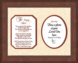 The Empty Chair Memorial Bereavement Poem Photo Frame (8X10) Gift in Remembrance With words of Encouragement
