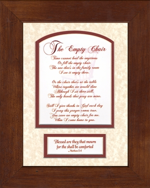 The Empty Chair Memorial Bereavement Poem Frame (6X8) Scripture Gift in Remembrance With words of Encouragement