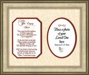 The Empty Chair Memorial Bereavement Poem Photo Frame (8/X10) Gift in Remembrance With words of Encouragement