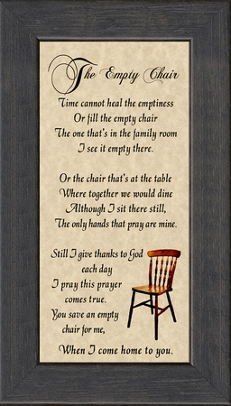 The Empty Chair Memorial Bereavement Poem Frame Gift in Remembrance With words of Encouragement