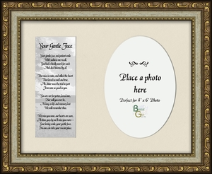 Your Gentle Face Poem Photo Frame (7X9) Sympathy Gift showing Encouragement, Comfort, and Condolence in Memorial and Bereavement.