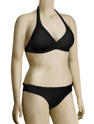 Aerin Rose Banded Halter Bikini Top with Ruffle 81511 - Black