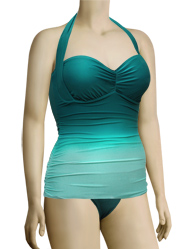 Aerin Rose Convertible Underwire Bandeau Halter Swimsuit 333 - Omb Emerald